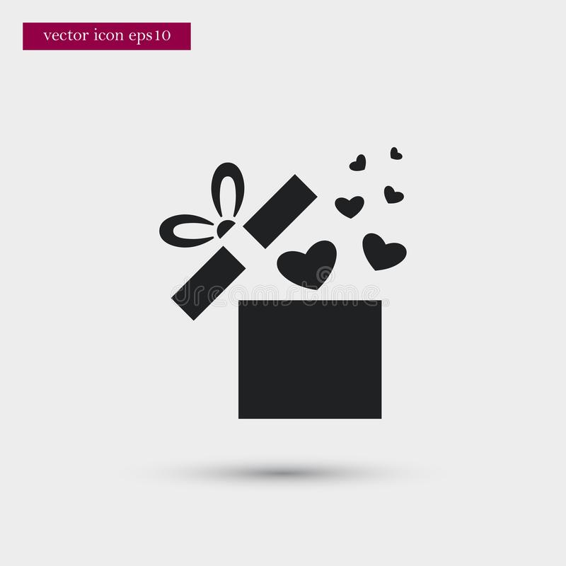 Gift icon. Simple romance element illustration. Valentine symbol design from love collection. Can be used in web and mobile vector illustration