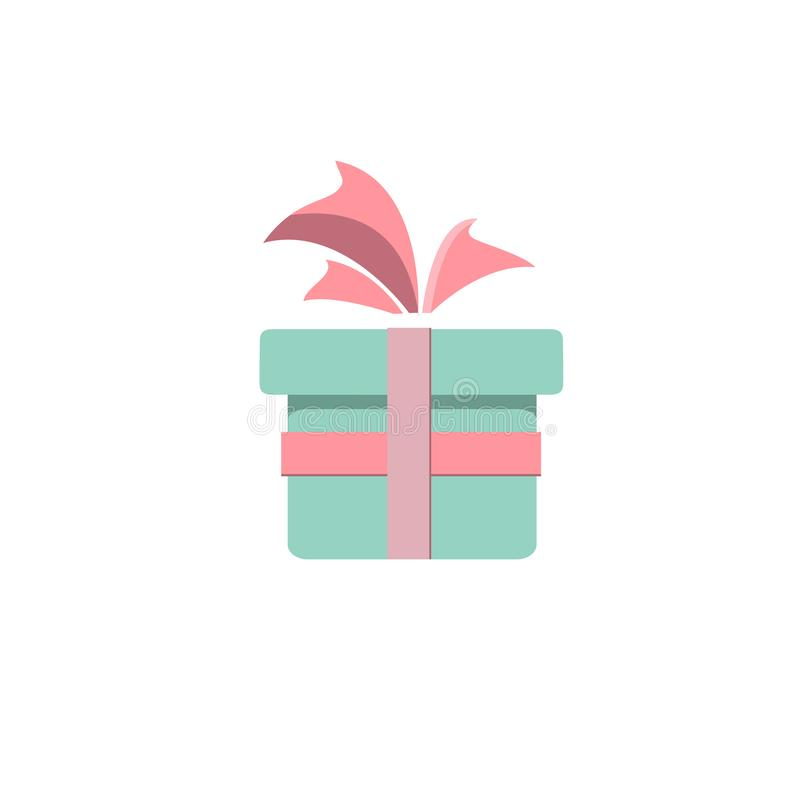 Gift icon, surprise, blue gift box, birthday party, special gift bag, loyalty program award, wonder blue gift with a pink bow, vec stock illustration