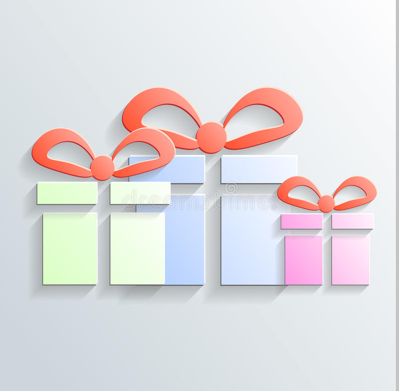 Gift Icon Vector With Shadow Stock Image