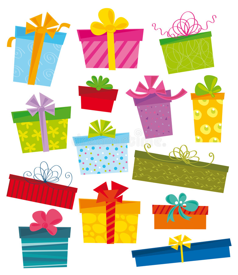 Gift icons. Illustration of colorful pockets and gifts stock illustration