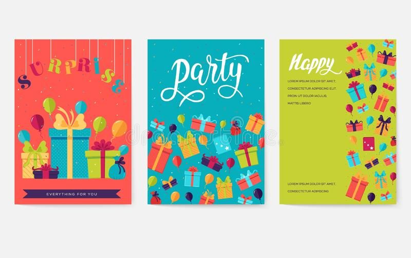 Gift information cards set. Surprise template of flyear, magazines, posters, book cover, banners. Box infographic stock images