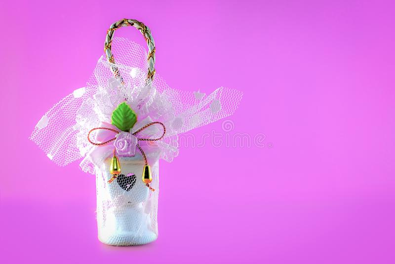 Gift isolated on pink background stock photos