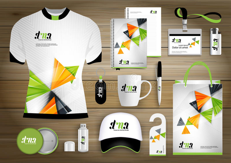 Gift Items business corporate identity, Vector abstract Color promotional souvenirs design with origami elements for diagonal line stock photo
