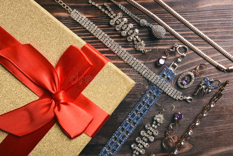 Gift, jewelry with diamonds and topaz stock images