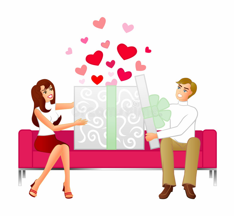Gift Of Love. An illustration of a couple sitting on a modern sofa opening a huge gift. Love hearts leap out when the box is opened
