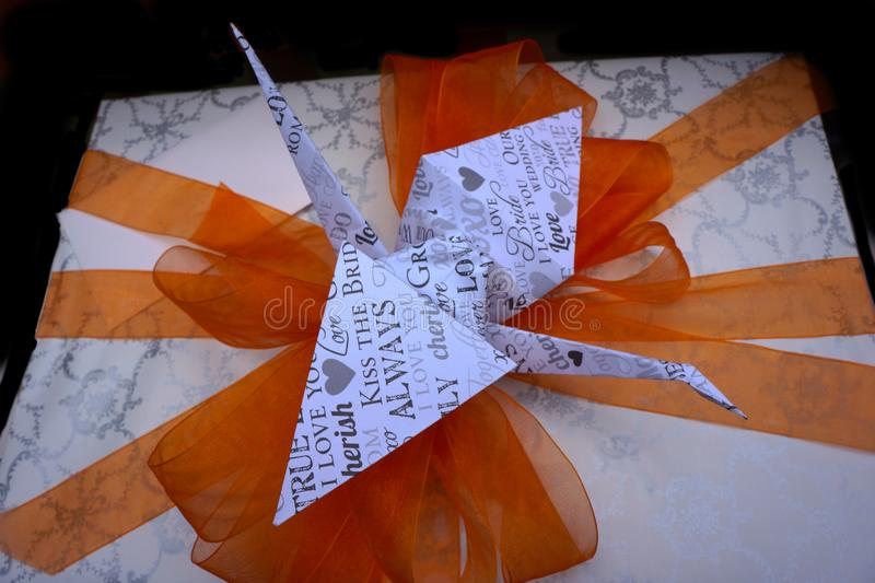 Wedding Gift Box Wrapped with Bow royalty free stock photo