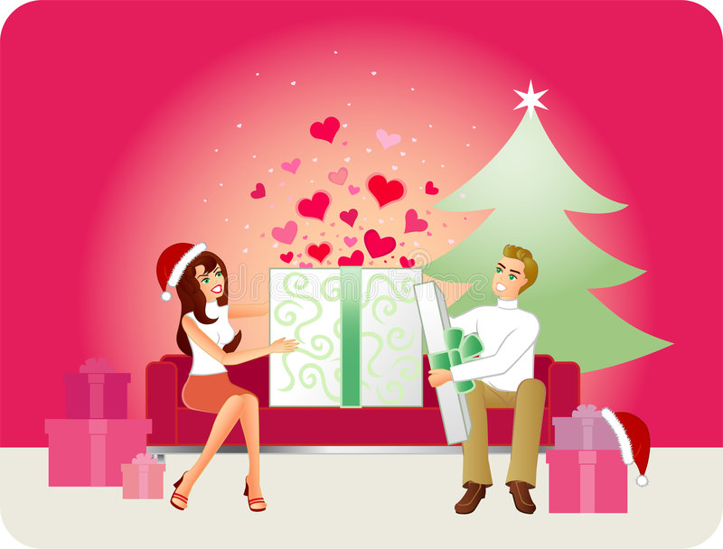 Gift Of Love - Christmas Version. An illustration of a couple sitting on a modern sofa opening their Christmas gifts. Hearts leap out when the box is opened. A royalty free illustration