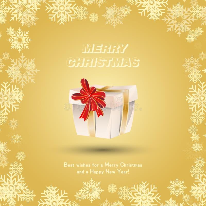 Gift met gouden linten en een rode boog tegen de sneeuw wordt verpakt die Feestelijke groetkaart voor Kerstmis en Nieuwjaar vector illustratie