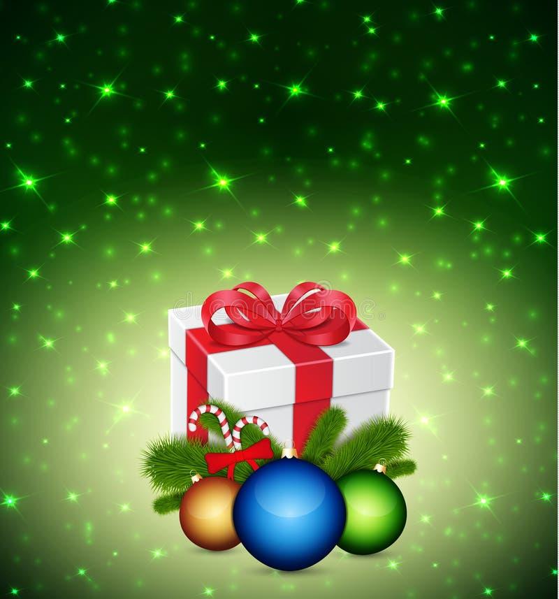 Gift met Kerstmisballen vector illustratie