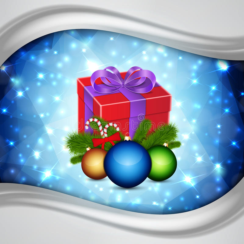 Gift met Kerstmisballen royalty-vrije illustratie