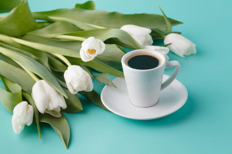 Gift for mother day. Fresh white tulips royalty free stock photography