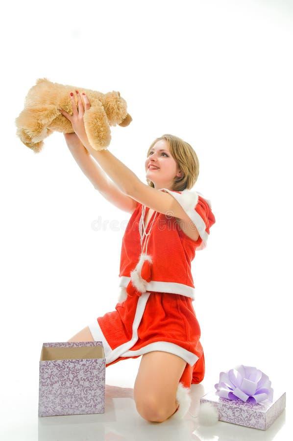 gift mrs santa smiling στοκ φωτογραφίες με δικαίωμα ελεύθερης χρήσης