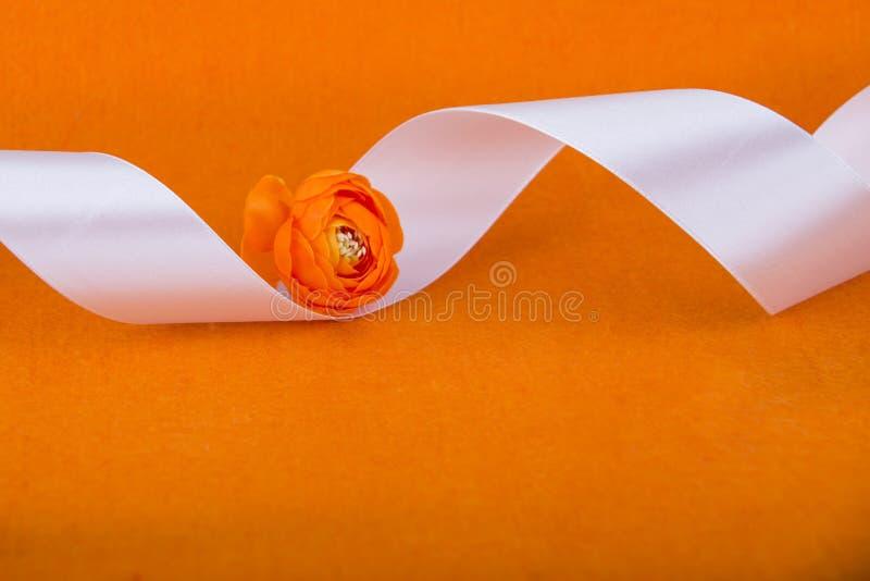 Gift oranje lint Lint en Bloem Wit lint op oranje achtergrond Naaiende workshop Kleine decoratieve sinaasappel stock afbeelding