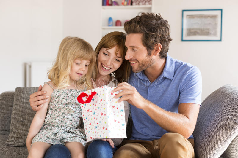 Gift for our little girl from family stock photo