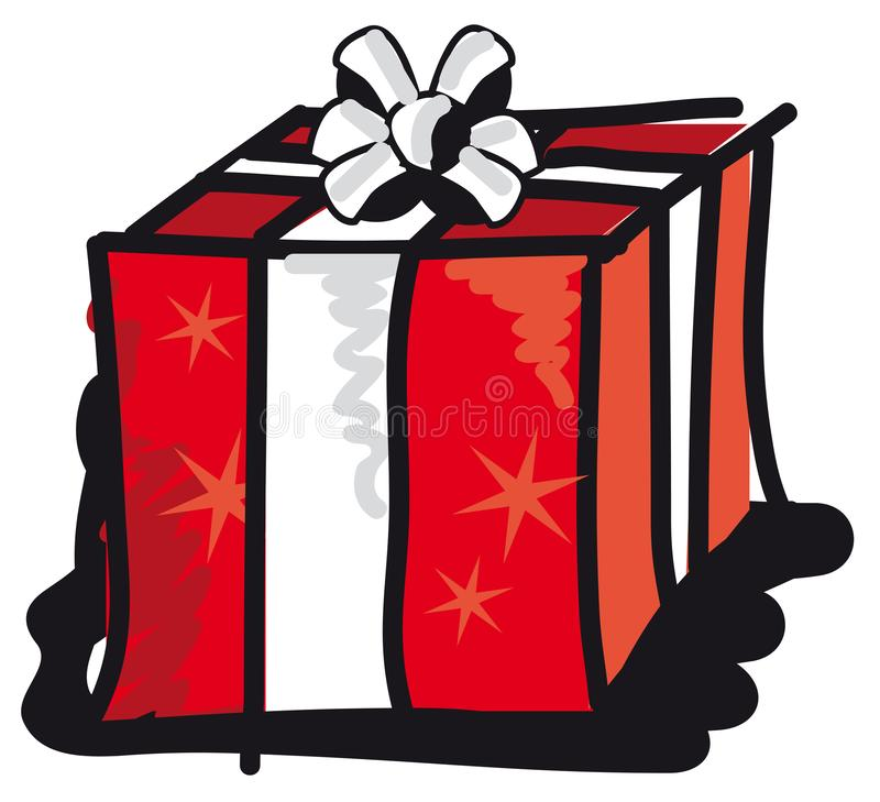 Gift package with bow and stars stock photo