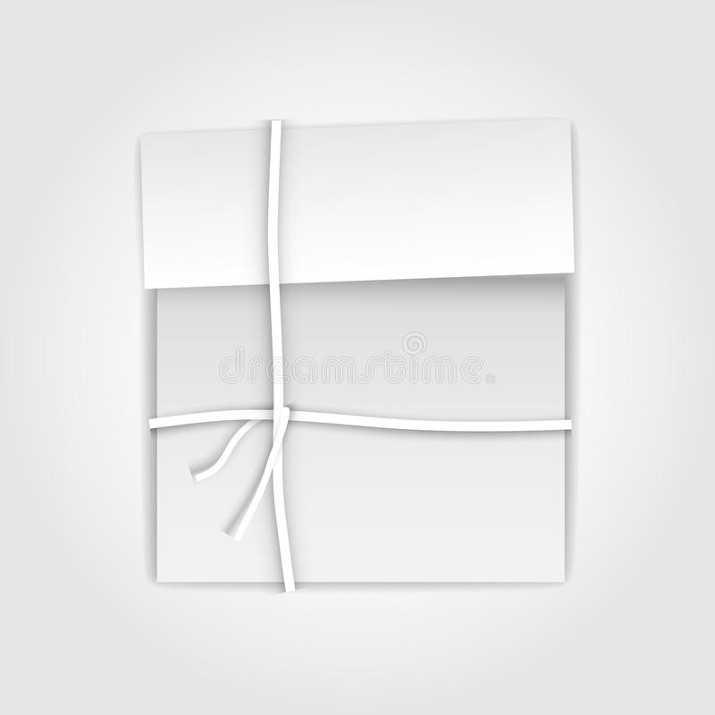 Gift package box with paper ribbon royalty free stock photos