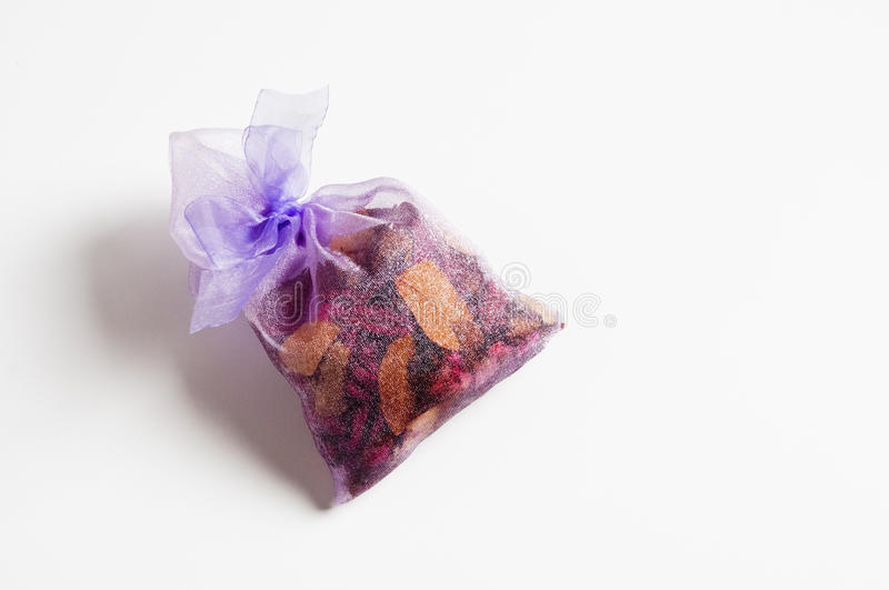 Gift packages. Of dry petals stock photo