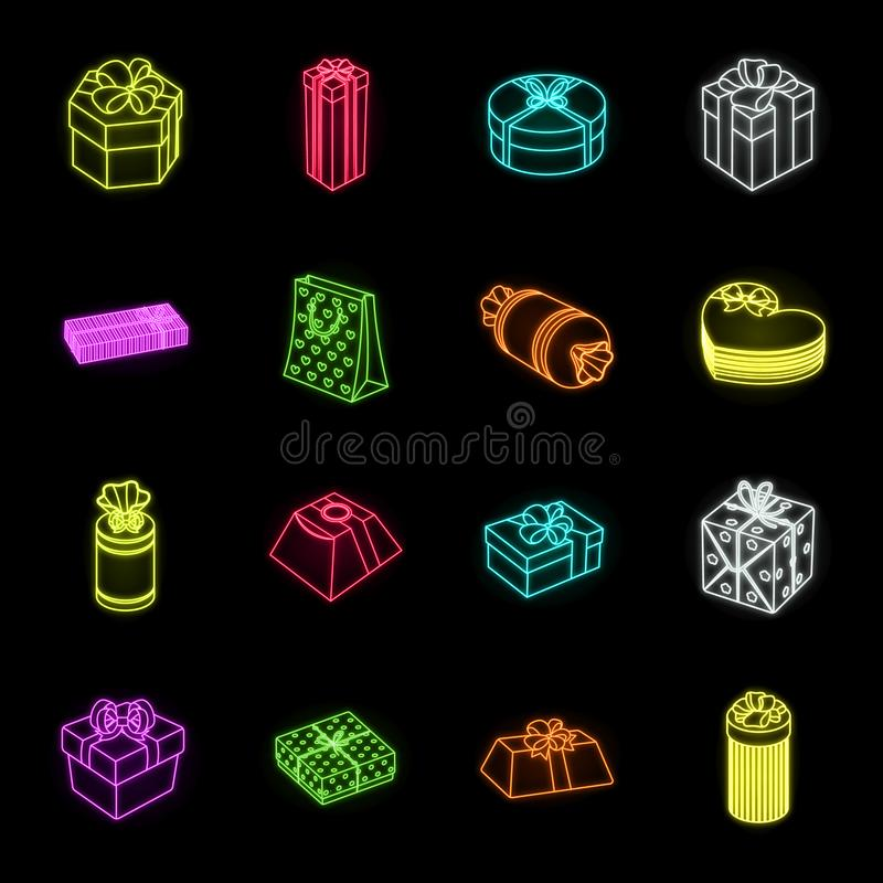 Gift and packing neon icons in set collection for design.Colorful packing vector symbol stock web illustration. royalty free illustration