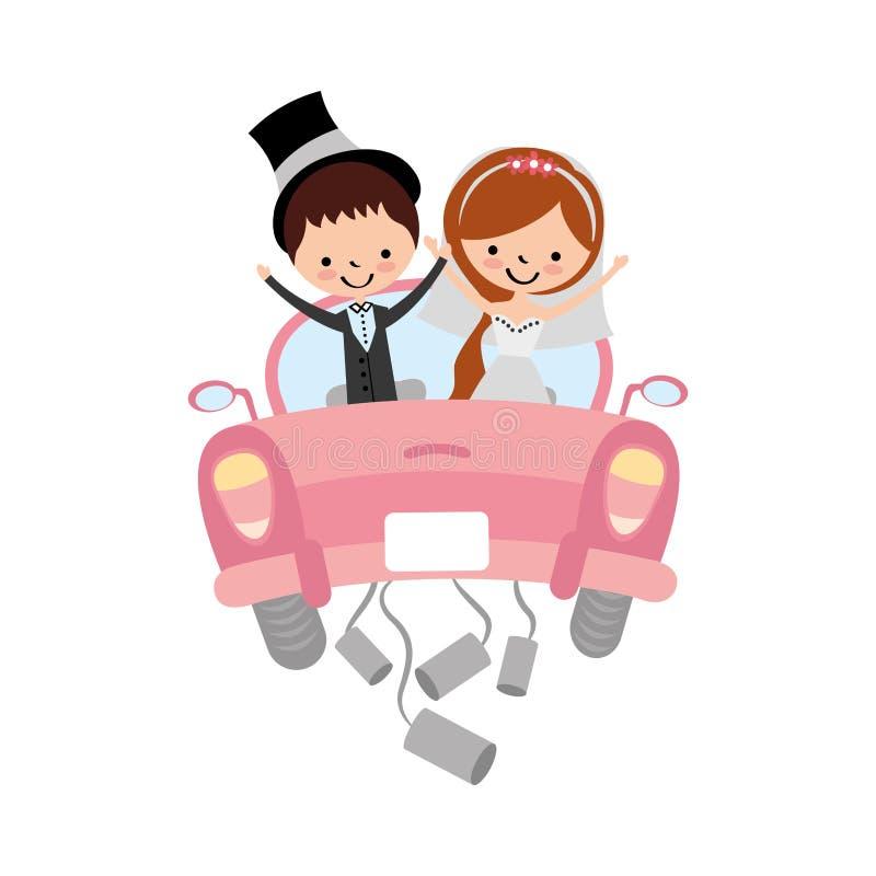 Gift par i bilavatartecken stock illustrationer
