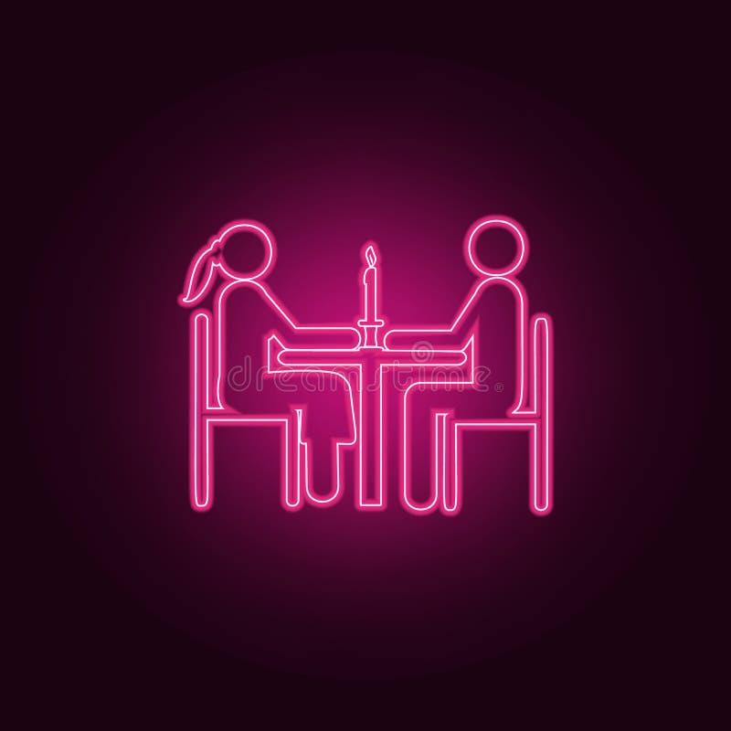 gift par på matställesymbolen Beståndsdelar av familjen i neonstilsymboler Enkel symbol för websites, rengöringsdukdesign, mobil  vektor illustrationer