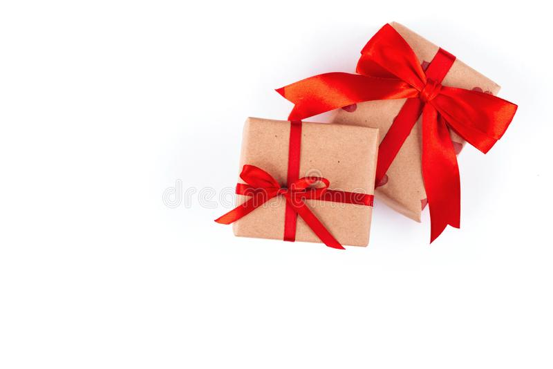 Gift parcel box with ribbon bow stock photography