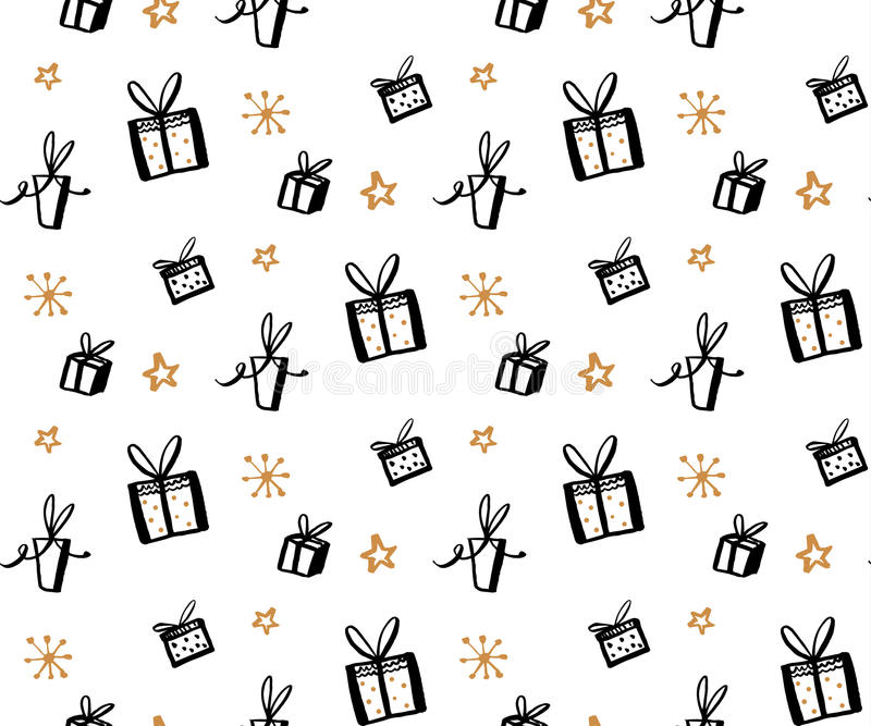 Gift pattern, seamless texture with hand drawn illustrations of present boxes. Vector gifts background.  royalty free illustration