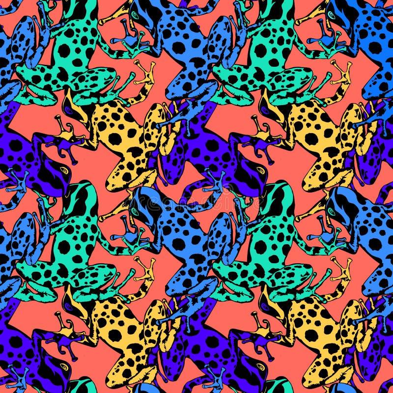 Gift-pil grodor Dendrobates Vektorstudie av färger och modeller vektor illustrationer