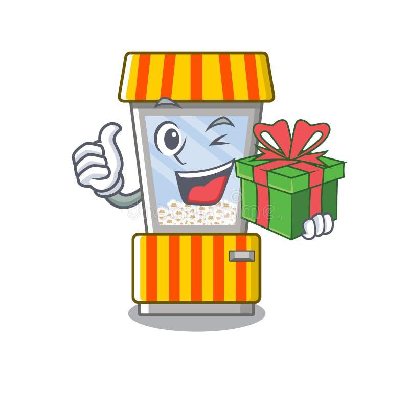 With gift popcorn vending machine is formed cartoon. Illustration vector vector illustration