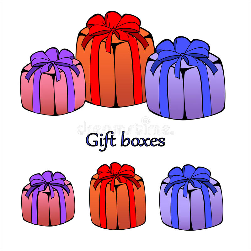 Gift or present boxes, illustration with outline. Gift or present boxes, package illustration with outline vector illustration