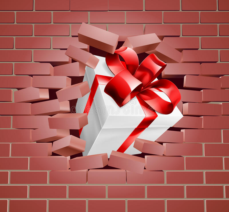 Gift Present Breaking Through Wall. A gift with red ribbon and bow breaking through a brick wall vector illustration