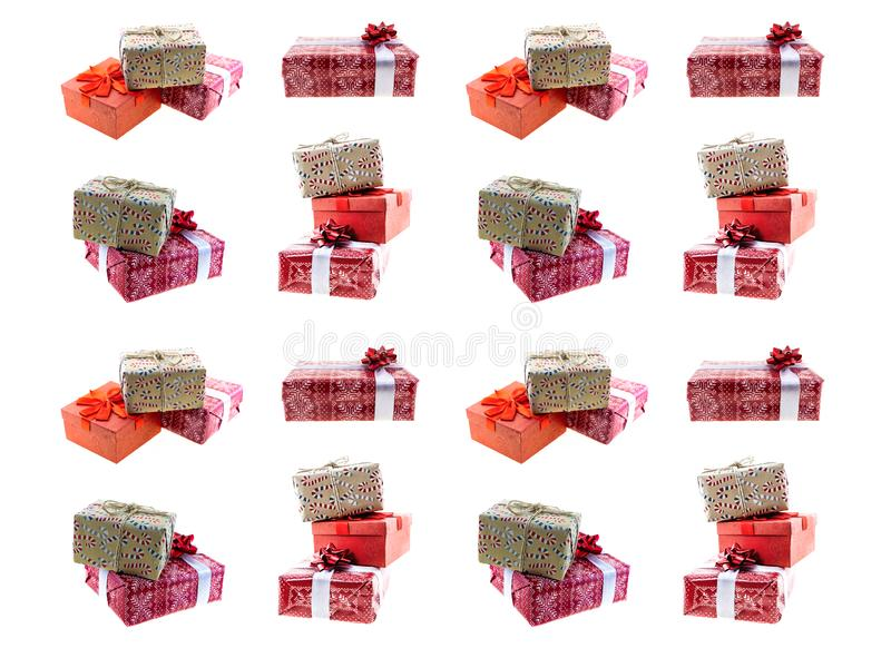 Gift present christmas decor set of boxes red wrapping paper kraft ribbon pattern stock photo