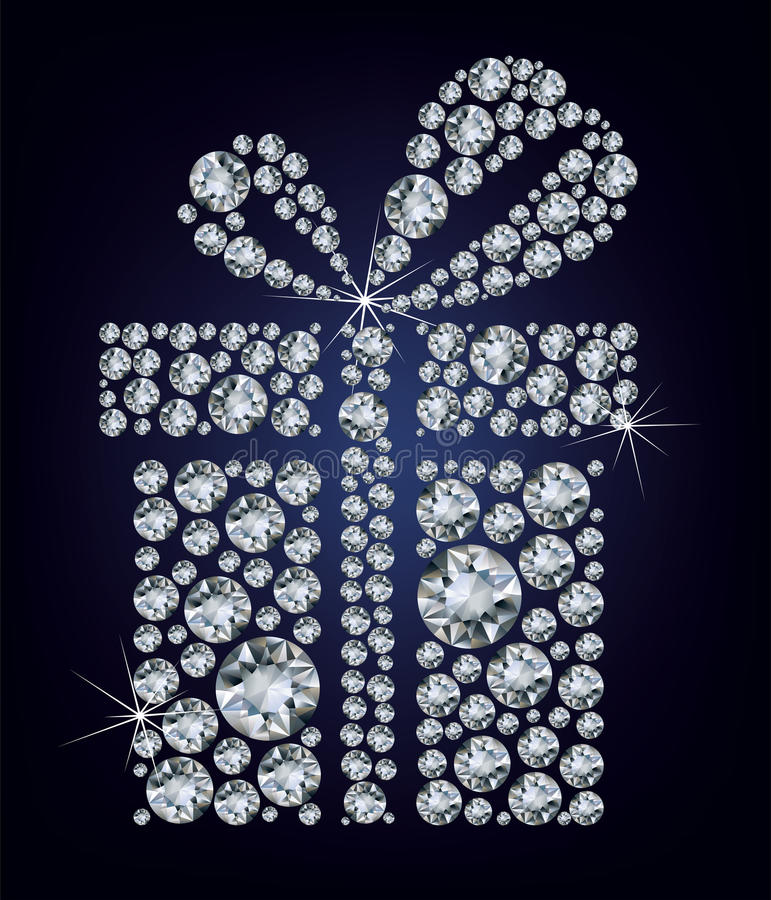Gift present made up a lot of diamonds on the blac stock illustration
