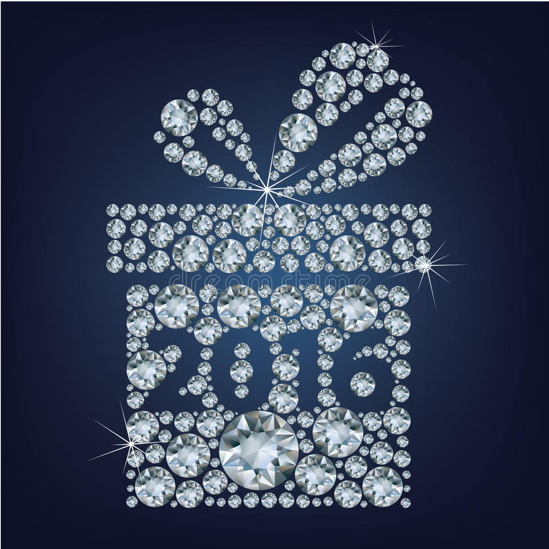 Gift present with 2016 made up a lot of diamonds. Vector vector illustration