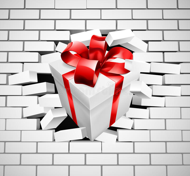 Gift Present Smashing Through Wall. A white gift or present with red ribbon and bow punching a hole through a white brick wall vector illustration