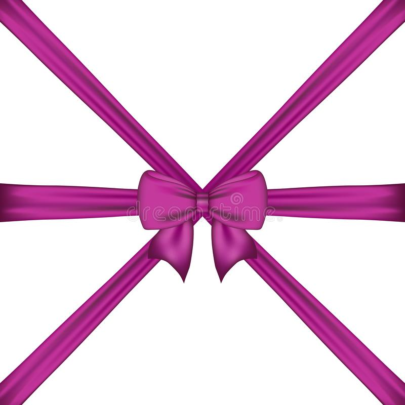 gift purple bow and ribbon crisscross from corner to corner royalty free illustration