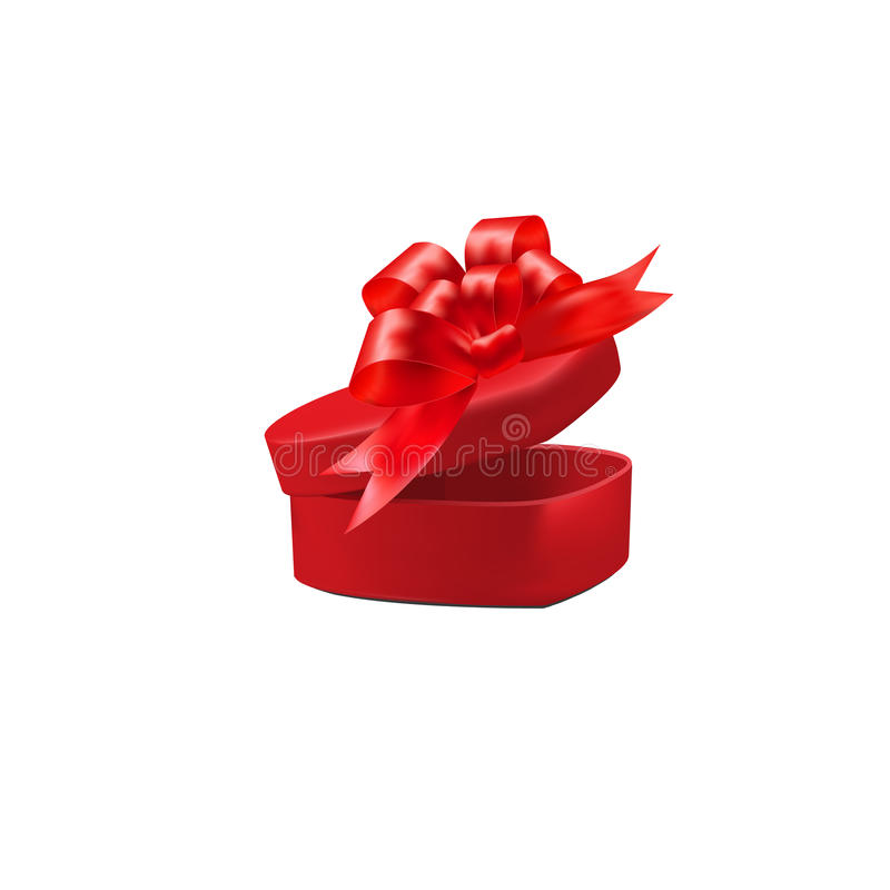 Gift red box with a bow on isolated on white background. illustration. Gift red box with a bow on isolated on white background. Vector illustration stock illustration