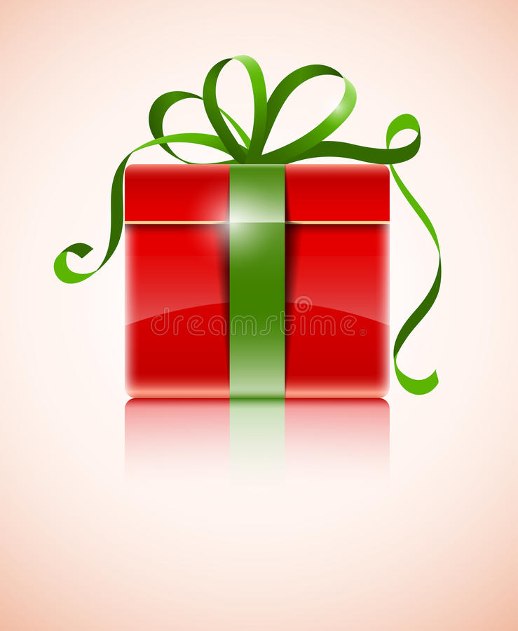 Download Gift In Red Box With Green Bow Stock Vector - Image: 22262507