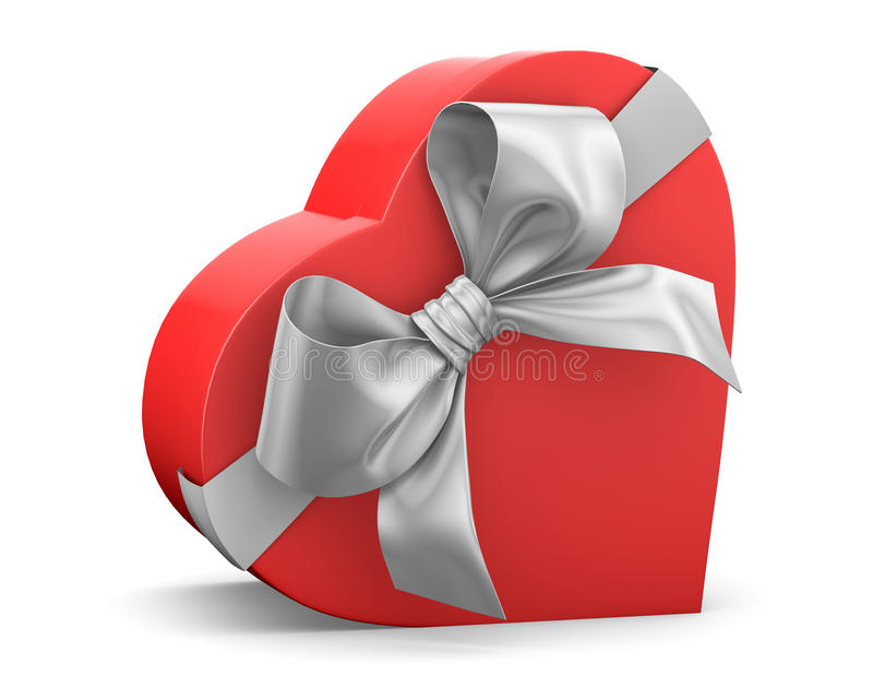 Gift. Red gift box in heart shape ribbon Valentine day concept with bow 3d rendering royalty free illustration