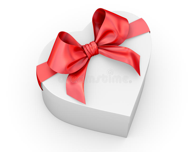 Gift. Red gift box in heart shape ribbon Valentine day concept with bow 3d rendering vector illustration
