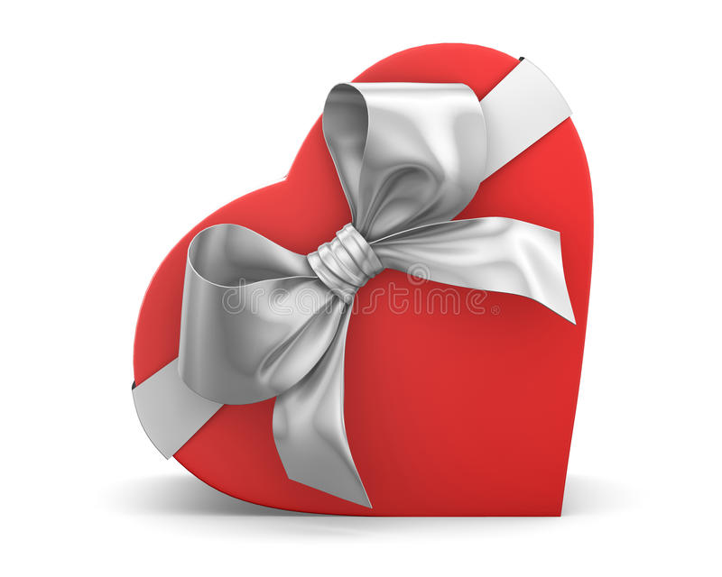 Gift. Red gift box in heart shape ribbon Valentine day concept 3d rendering royalty free illustration