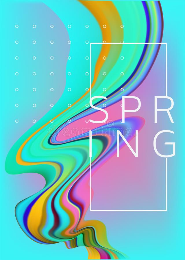 Spring ultra bright poster with liquid flow. royalty free illustration