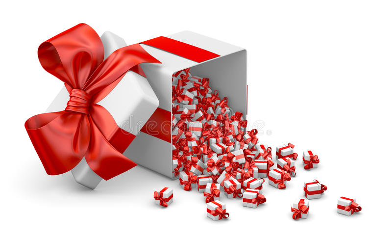 Gift. Red a lot of red gift box for Merry Christmas, New Year's Day , Open Gift box emitting little gift many boxes with a red ribbon ,3d rendering vector illustration
