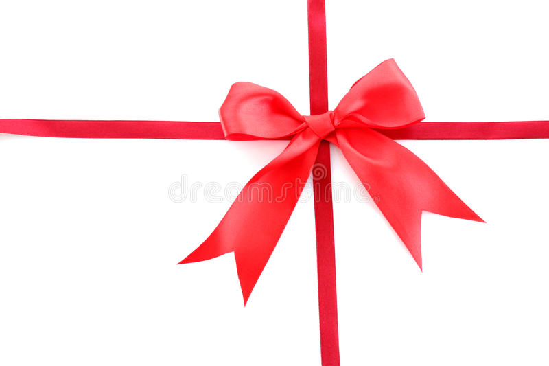 Gift red ribbon. And bow isolated on white background stock photography