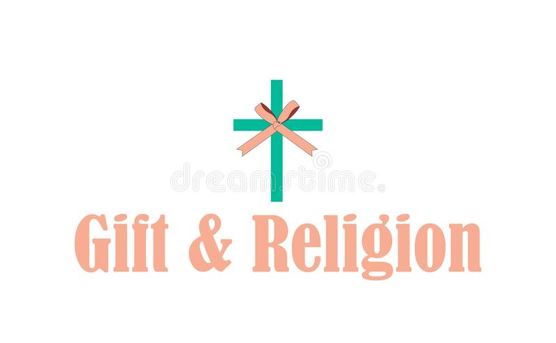 Gift & religion logo. A logo that merges iconography of the religion of Christianity and a gift ribbon. It is most usable as a logo for a Christian gift shop royalty free illustration