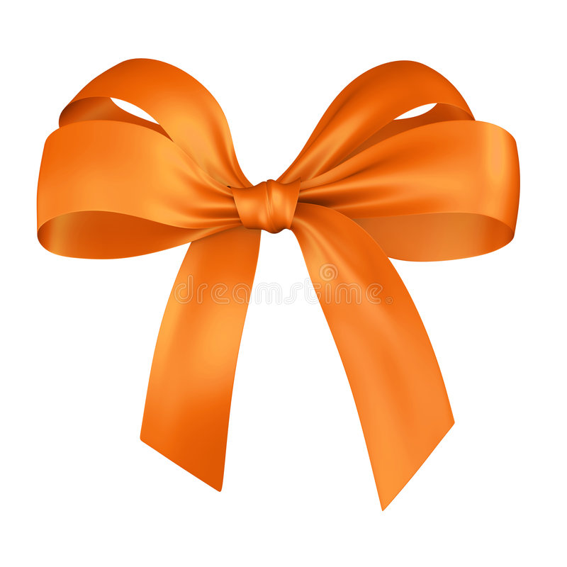 Gift, ribbon, bow. Yellow ribbon isolated on white vector illustration