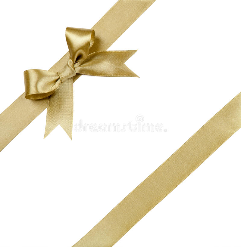 Gift ribbon with bow isolated on white.  royalty free stock photo