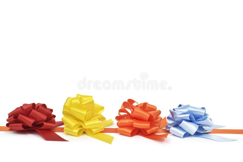 Gift ribbon bows of different colors stock images