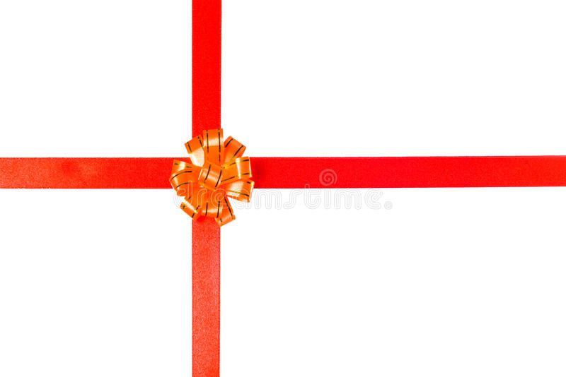 Gift ribbon. Gift red ribbon isolated on white background stock photography