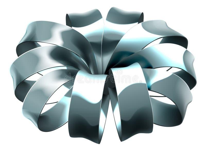 Gift Ribbon Silver Bow Wrap vector illustration