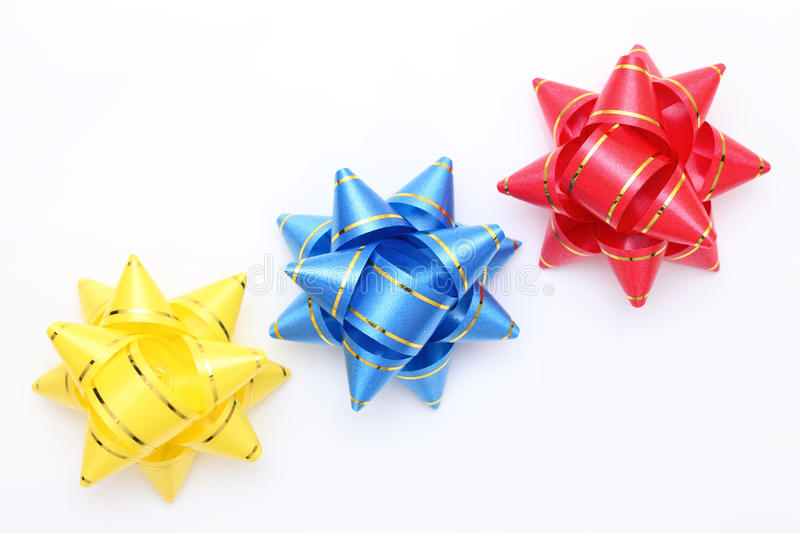 Gift ribbon. On a white background stock photography